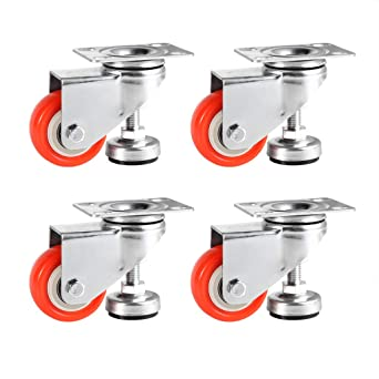 4pcs Level Adjustment Caster Retractable Workbench Caster Heavy Duty Leveling Caster Wheels Industrial Roller For Moving Tables