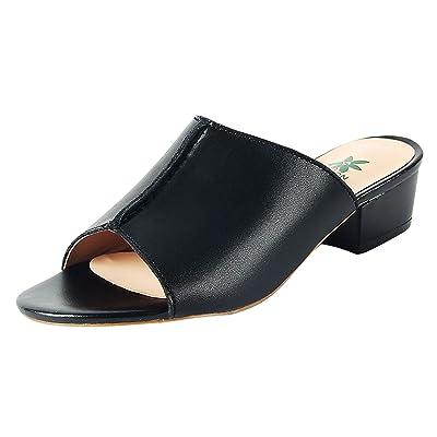 Women's Classic Mid Heel Chunky Block Heel Mules Open Toe Block Mule Heels | Sandals