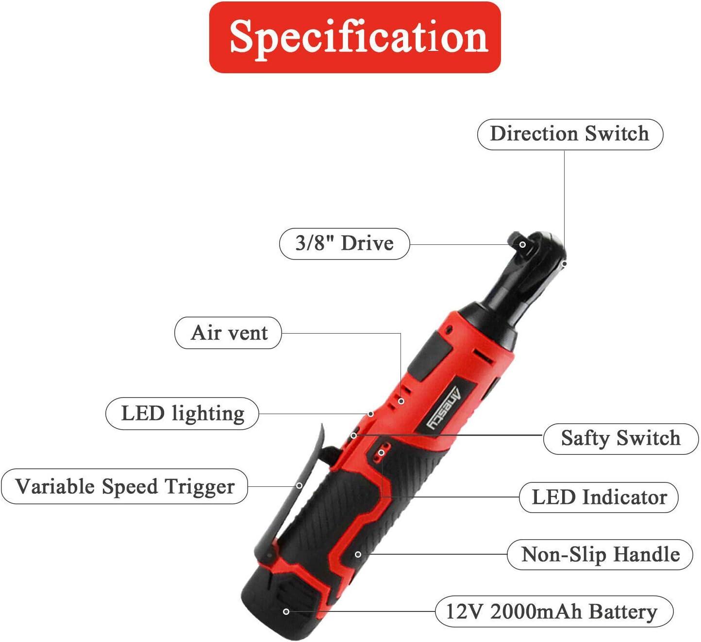 Anesty Akku Ratsche Ratschenschrauber 3 8 Vierkant Antrieb Umschaltknarre Ratschenschlüssel Mit Led Leuchte Variabler Drehzahleinstellung Baumarkt