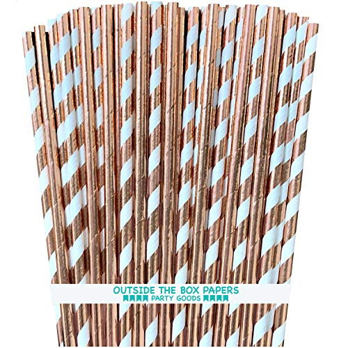 Rose Gold Solid and Stripe Foil Paper Straws - 7.75 Inches - 100 Pack - Outside the Box Papers -