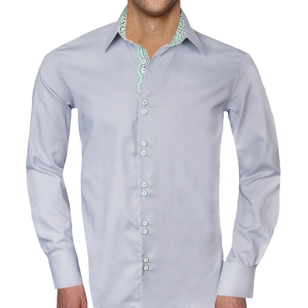 Gray With Teal Designer Dress Shirt Made In Usa At Amazon Mens