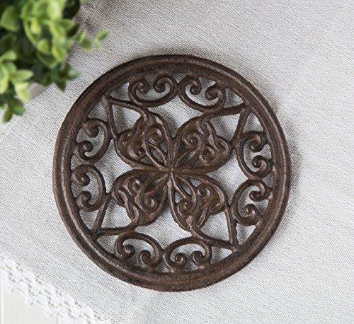 Cast Iron Round Trivet with Vintage Pattern - Decorative Cas