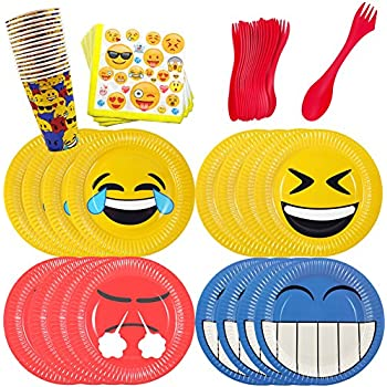 Emoji Birthday Party Supplies Set for 16 - Emoji Plates Cups Napkins and Plastic Cutlery