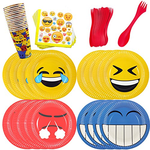 [Emoji Birthday Party Supplies Set for 16 - Emoji Plates Cups Napkins and Plastic Cutlery] (Cute College Costume Ideas)