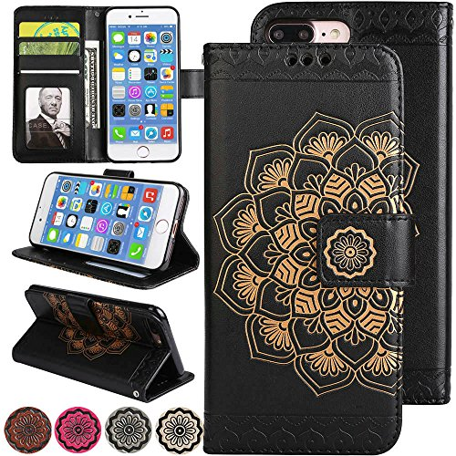 iPhone 8 Plus Case,iPhone 7 Plus Case,Fold Kickstand Wallet Case 3D Embossed Flower Leather Cover Flip Magnetic Folio iPhone7 Plus Protective Cover with Credit Card Holder for iPhone8 Plus (Black)