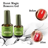 2Pcs Nail Enamel Wipe Residue Cleaner Polish Remover Gel Glue 2 Minutes Burst Nail Polish Remover Magic Remove UV Gel Nail Polish Magic Remover (15ml *2)