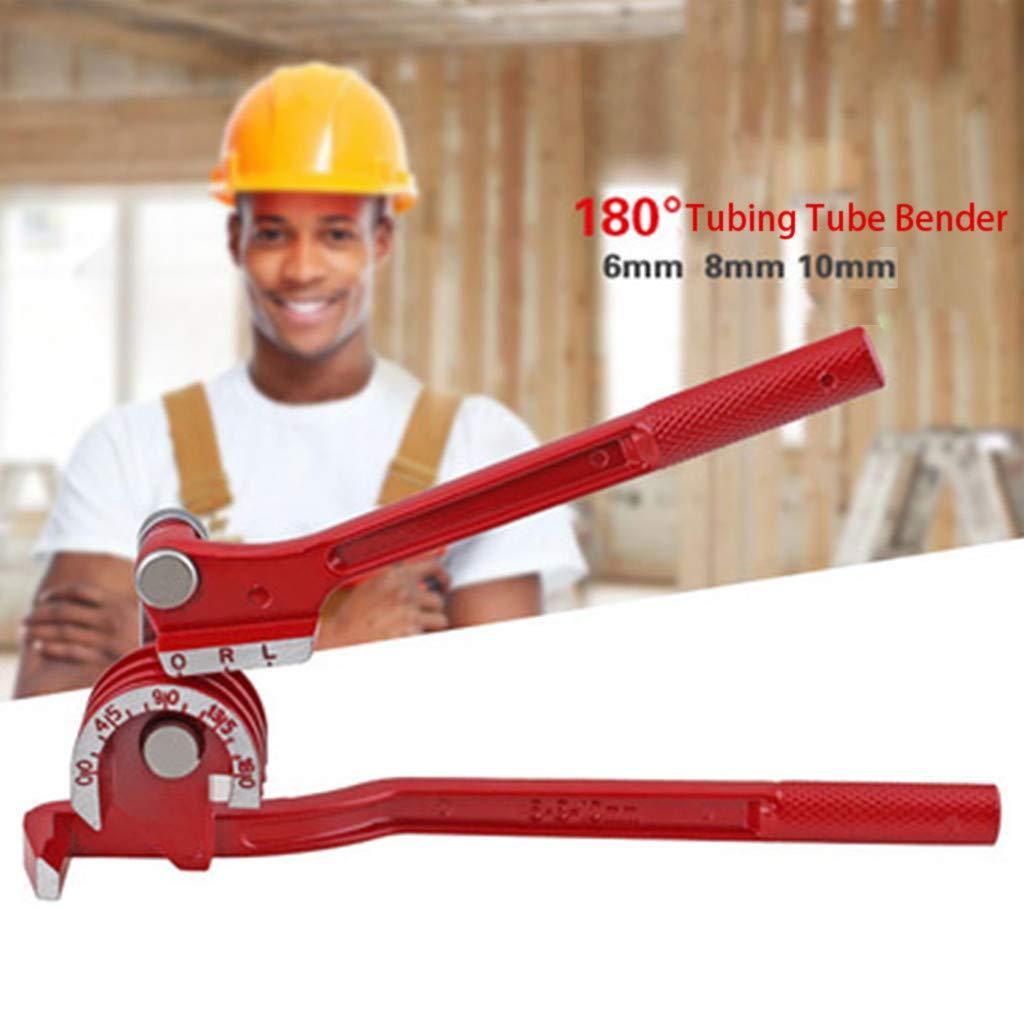 Aluminum Copper Steel Fuel Brake Line Bovake Metal and Steel 3-in-1 Pipe Tube Bender Tubing Bending Tool 180/°Lever Plumbing Tools Hand Tool Red