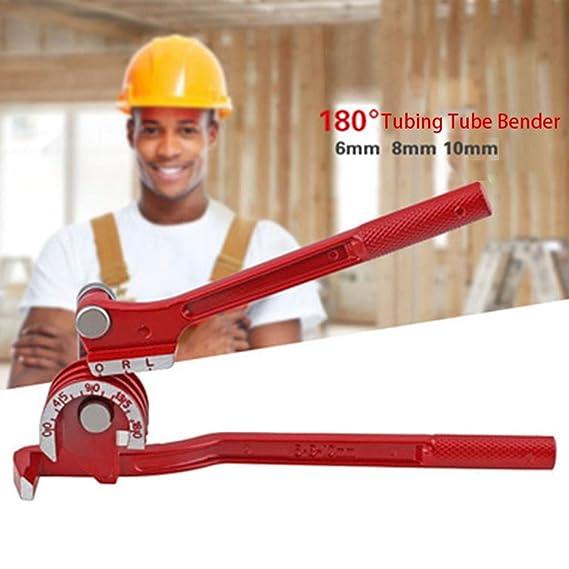 Tubing Tube Bender Aluminum Copper Aluminum Alloy Manufacturing Manual Pipe Bending Machine PVC Pipe Bending Machine Red is 6mm Bending 90° Without Deformation 8mm 1/4 5/16 3/8 10mm