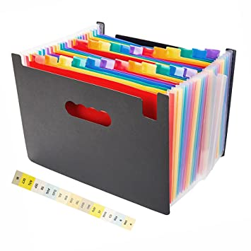 Office Expanding File Box 24 Pocket A4 Folder Document Organiser with Flip Cover