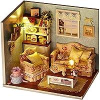 DIY Holzpuppen Haus Handwerk Miniatur Kit - Wohnzimmer Modell & alle Möbel