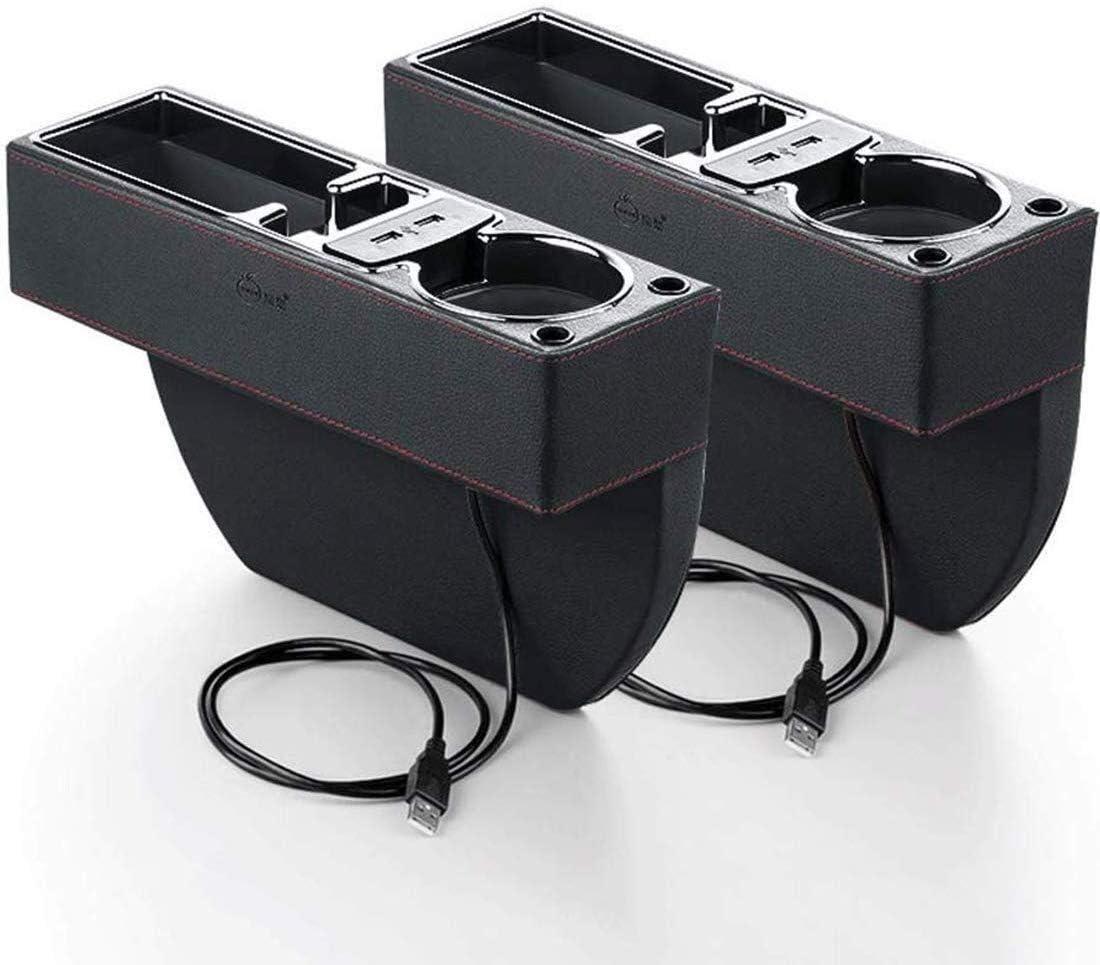 2パックのサイドポケットオーガナイザー付きUSBスロットコンパートメントボトルカップホルダーカーシートフィラーギャップスペースストレージボックスはながら運転を削減を支援します&リモートマネーカードキーを保持します (色 : Black)