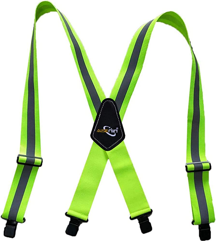 Work Suspenders for Men Heavy Duty, Reflective Safety Suspenders Tool Belt Suspenders with X-Back 2