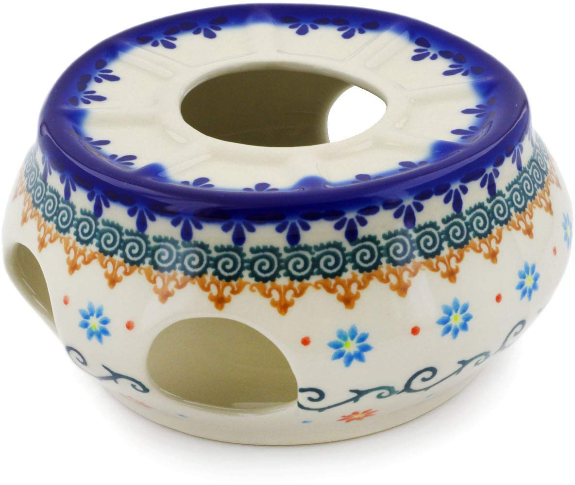Polish Pottery 6-inch Heater (Sunflower Dance Theme) + Certificate of Authenticity