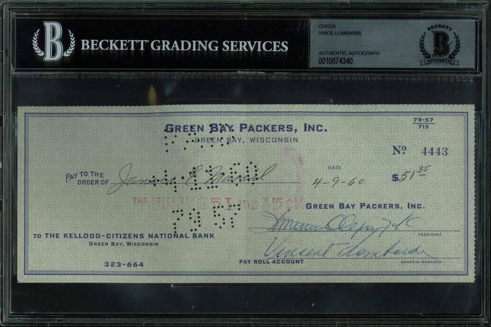 Packers Vince Lombardi Authentic Autographed Signed 3.25X8.5 Check Dated 4 9 60 Bas Slabbed