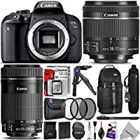 Canon EOS Rebel T7i DSLR Camera with 18-55mm and 55-250mm Lenses Kit w/ Advanced Photo and Travel Bundle