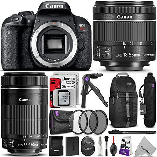 Canon EOS Rebel T7i DSLR Camera with 18-55mm and 55-250mm Lenses Kit w/ Advanced Photo and Travel Bundle by Canon