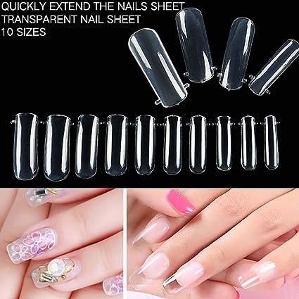 Dontdo - 100 uñas postizas de acrílico para uñas artificiales, puntas completas transparentes para herramientas
