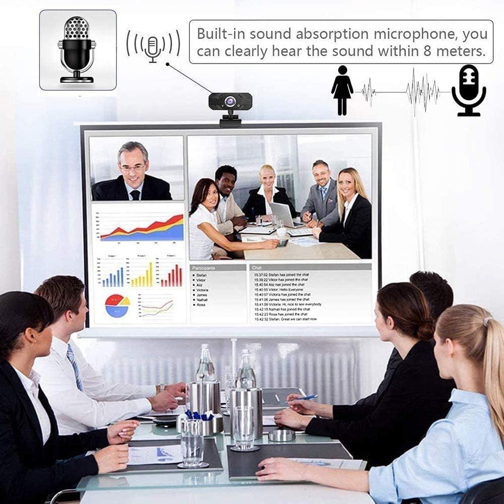 Emilyysky Webcam,HD1080P Web Cam USB Webcam,PC Webcam Full HD con Microfono Stereo elecamera PC Microfoni Audio Stereo ridurre Il Rumore per Video Chat e Registrazione