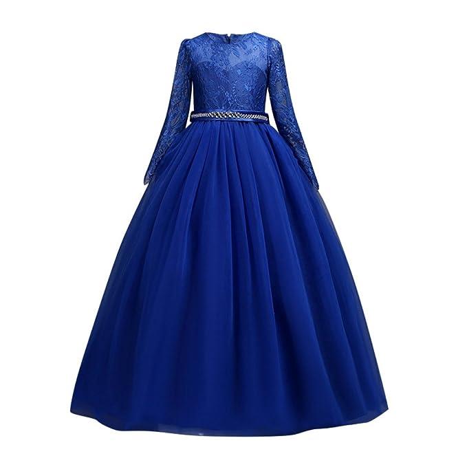 EXIU Niñas Bordado de Encaje de Manga Larga Vestidos de Fiesta Princesa Traje de Rendimiento Formal: Amazon.es: Ropa y accesorios
