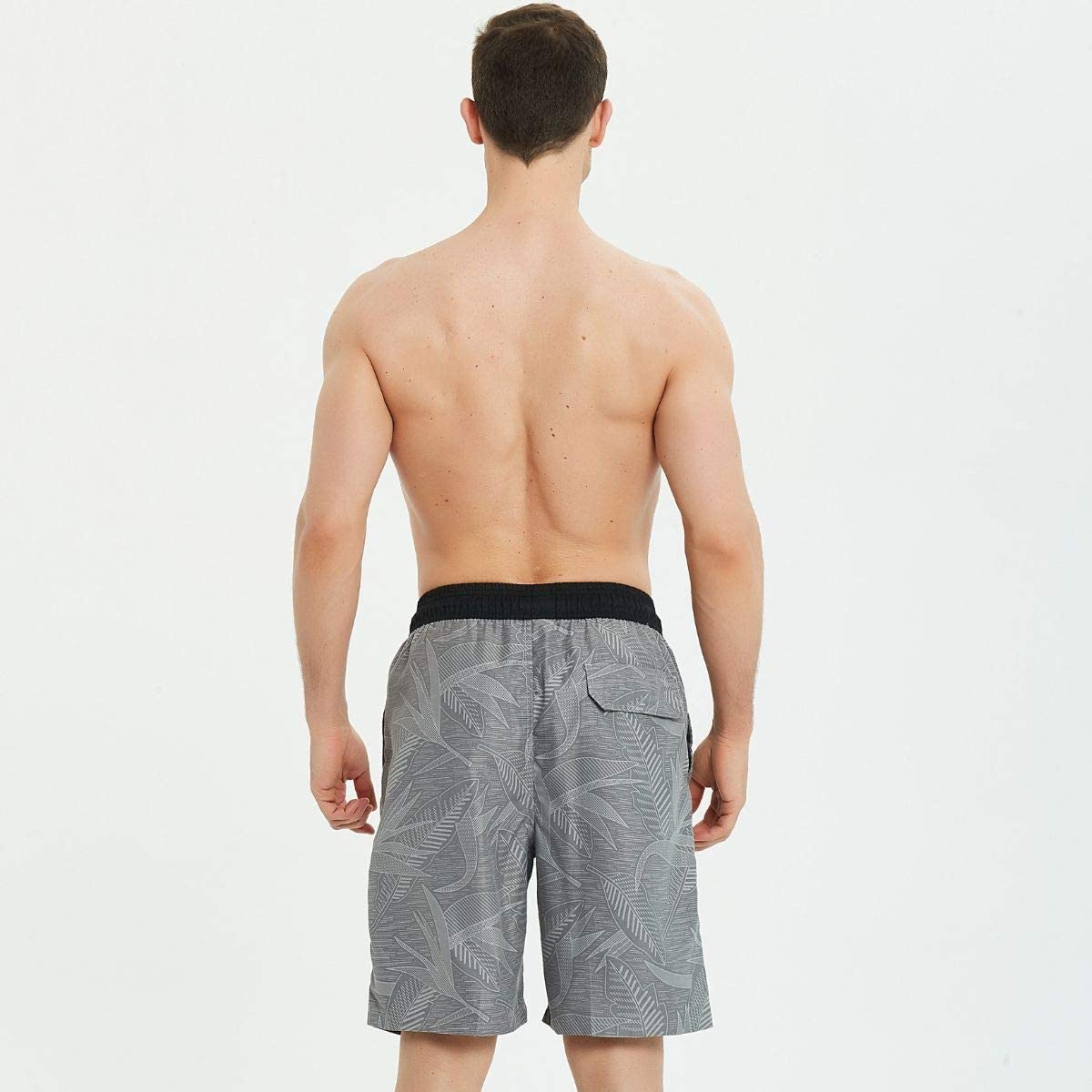 Quick Dry Mens Boardshorts Kailua Surf Mens Swim Trunks Long 9 Inches Inseam Mens Bathing Suits with Mesh Lining