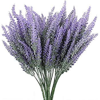 Duovlo Lavender Artificial Flower Purple Bouquet Arrangements For Home Decor And Wedding Decorations 8 Bundles No Basket