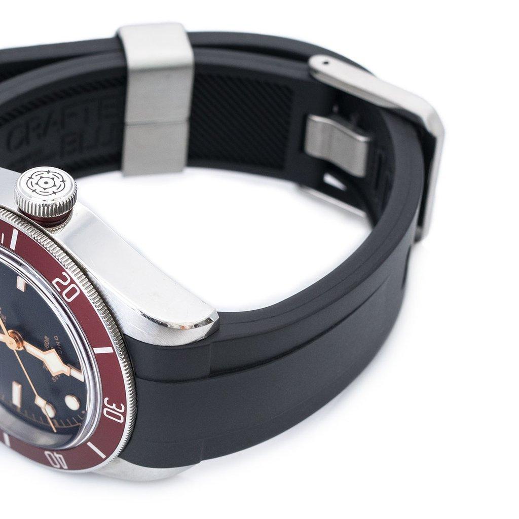 22mm Crafter Blue Rubber Watch Band, Color Black, Curved Lug for Tudor Black Bay M79230 by MiLTAT (Image #2)