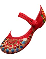 KINDOYO Womens Embroidery Flats Shoes - Ladies Casual Old Peking Office Work Mary Jane Shoes