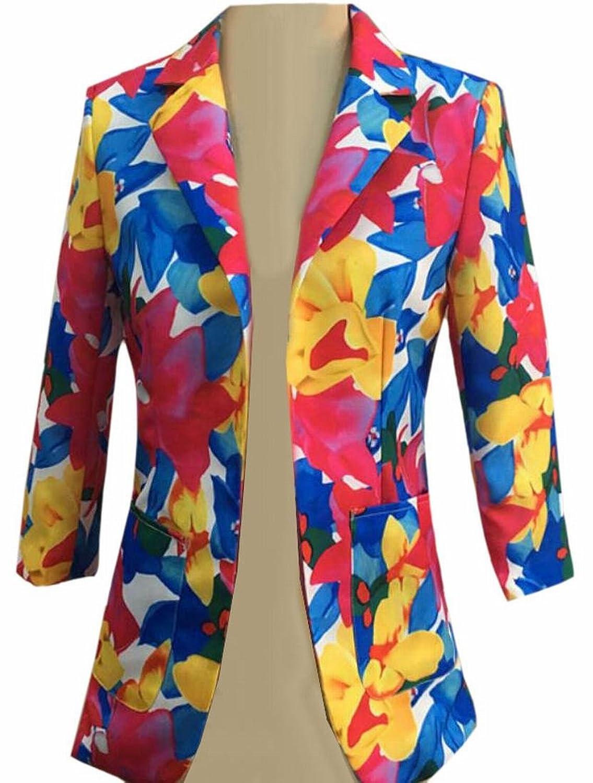 RRINSINS Women's Slim Classic Buttonless Print Lined Lapel Ethnic Suit Jacket Blazer