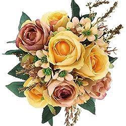SOLEDI Artificial Flowers 12 Heads Lifelike Autumn Xiangshan Rose For Wedding Home Bar Decor(Yellow+Pink)