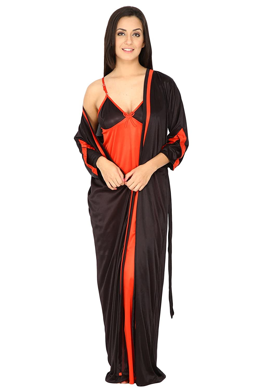 Secret Wish Women\'s Satin Black Long Night Dress With Robe Set ...