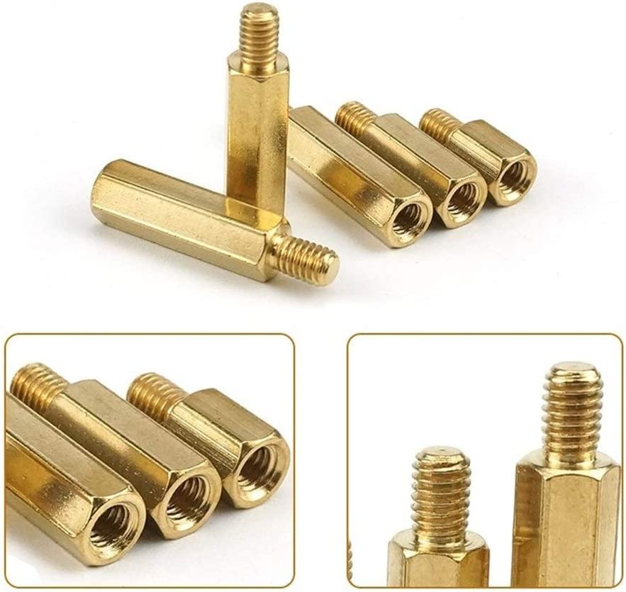 Ping.Feng 30Pcs M3L+6mm Hex Head Brass Spacer Nut Copper Insert Threaded Pillar PCB Computer Motherboard Female Male Standoff Screws Length : 15mm, Size : M3