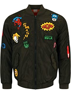 Marvel Comics Retro Jacket Men s Green Bomber with Hero Patches Green e488af6f4ab1