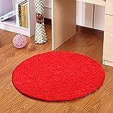 HOMEE Circular Carpet Living Room Bedroom Desk Elevator Plush Cushion,Large Red,Diameter 100 Spaniel