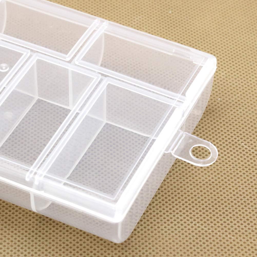 contenedor de Almacenamiento Caja peque/ña Transparente Delleu Caja port/átil de pl/ástico con 6 Compartimentos