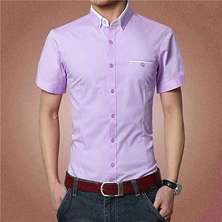 NSSY Camisa de Hombre Sólido de Manga Corta para Hombres Camisas de Vestir Camisa de Hombre de Trabajo Traje de Pareja Hombre Fiesta, L: Amazon.es: Hogar