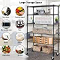 """Payhere 6 Tier Metal Wire Shelving Unit with Wheels, Adjustable Steel Storage Rack, 3600 LBS Capacity, 76"""" H x 48"""" W x 18"""" D, Heavy Duty Standing Shelves for Restaurant Garage Pantry Kitchen"""