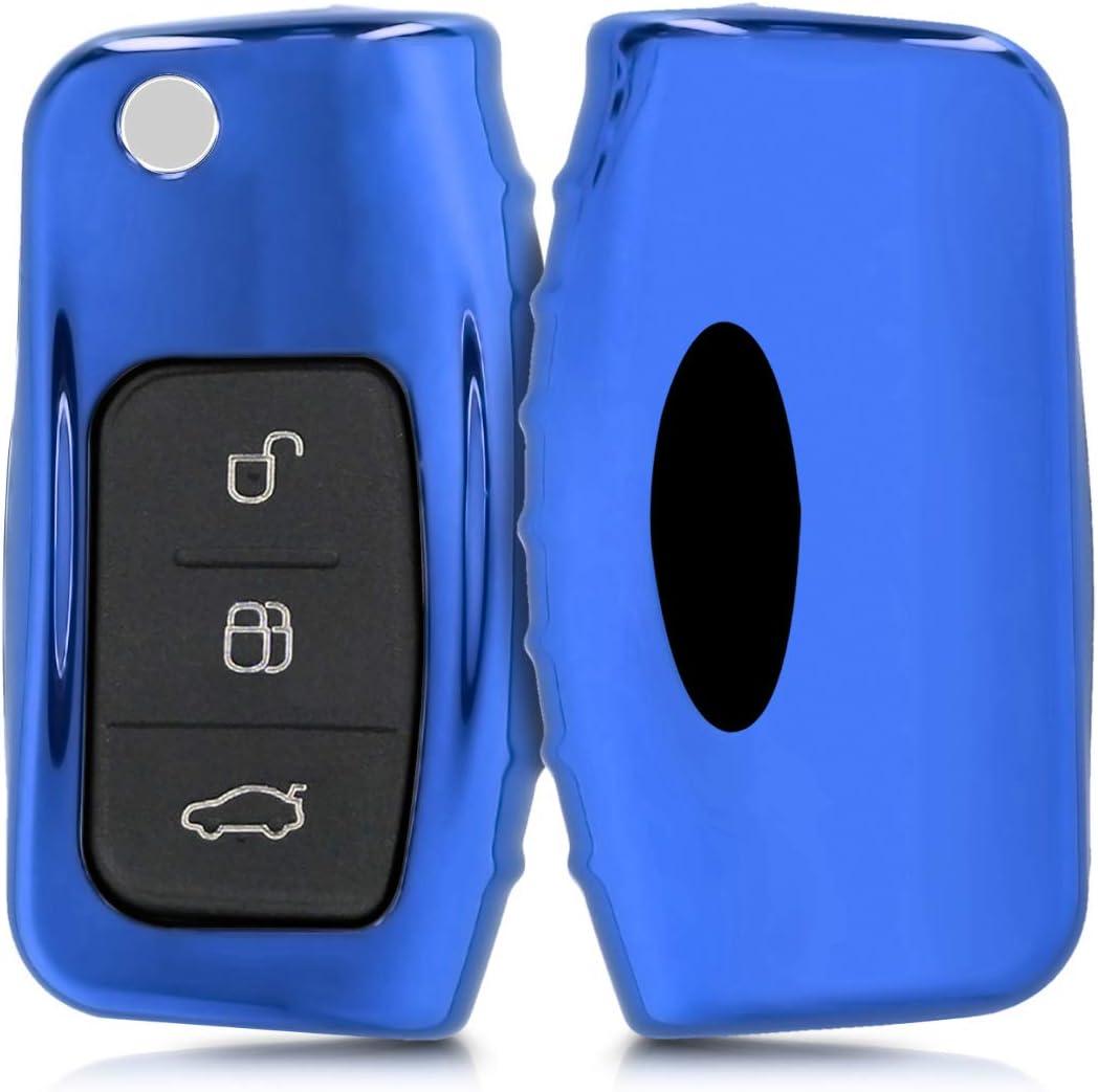Custodia in TPU Morbida Cromata per Telecomando Ford Fiesta Focus Galaxy Fusion Mondeo C-Max Kuga Ecosport Protezione con Portachiavi Blu Cover Guscio Silicone per Chiave Ford
