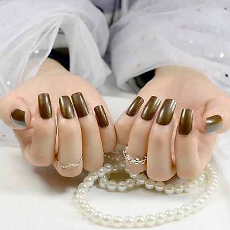 Amazon.com : CoolNail 24pcs Medium False Nails Square Head Acrylic Fake Nail Glitter Brown Full Cover Nail Tips Finger Art : Beauty