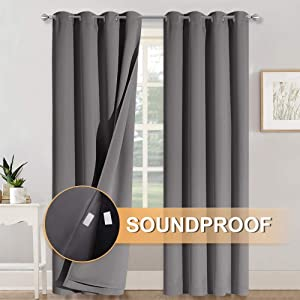 RYB HOME Soundproof Curtains 84 inches - 3 Layers 100% Blackout Curtains Noise Cancelling Thermal Insulted Drapes for Door Window Living Room Room Divider Curtains, W 52 x L 84 inch, Gray, 1 Pair