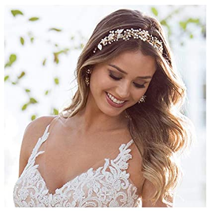 Bridal Diamante Headband Crystal Wedding Dress Accessories Pearls Hair Vine Halo