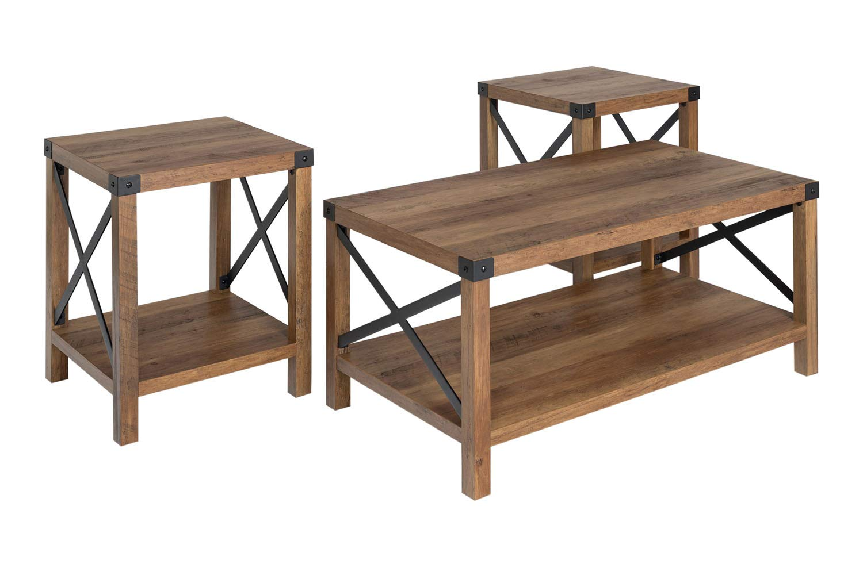 Walker Edison Furniture Company 3-Piece Rustic Wood and Metal Coffee Table Set - Rustic Oak