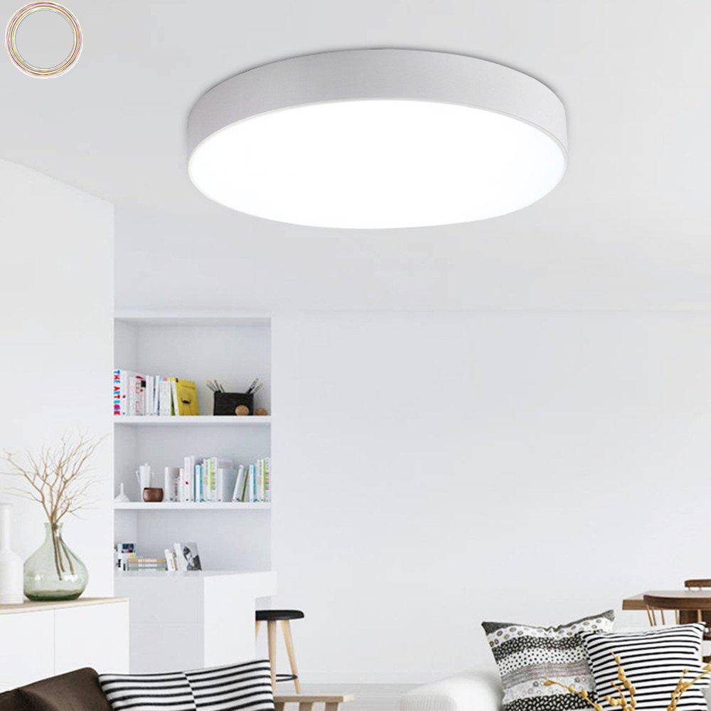 Moderne Minimalistische Schmiedeeisen Deckenleuchte Stilvolle Ultra-dünne Runde LED Wohnzimmer Deckenlamp Drei Licht Farbe Flur Schlafzimmer Lichter (Weiß, φ80cm 60W)