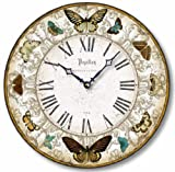 Item C8221 Vintage Style 12 Inch Butterflies Clock (12 Inch Diameter) For Sale