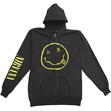 Amazon.com: Nirvana Men's Smile Zippered Hooded Sweatshirt Black ...