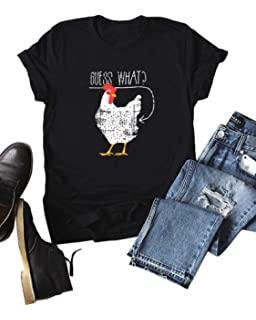 be8122339508 Haircloud Women Guess What Chicken Butt Shirt Funny Joking Chicken T-Shirt  (Run 3