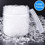 elastic EAONE 1500 Pieces Clear Elastic Hair Bands, Rubber Hair Ties with Free Box for Girls