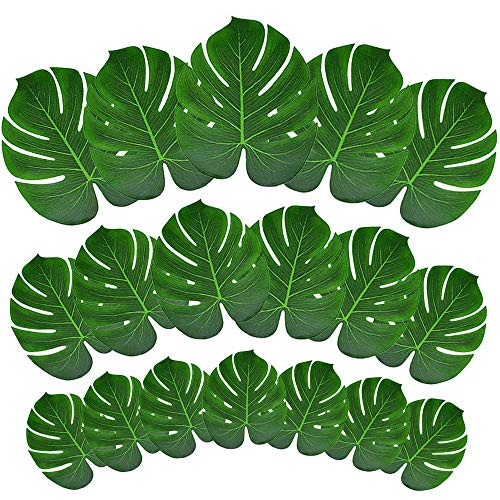 MOMOTOYS 60Pcs Palm Leaves Tropical Party Decorations Simulation Artificial Leaves Monstera Leaves Hawaiian Luau Aloha Jungle Theme Party Decorations Beach Moana Wedding Birthday Party Table Decor -