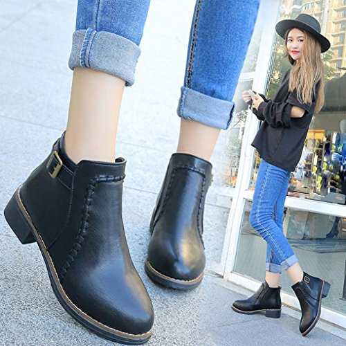 Tefamore Zapatos de Mujer Botines Botas de Cuero Flock Motos de Anti-deslizante de Moda Otoño Invierno Negro