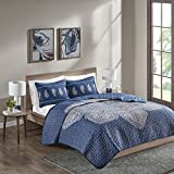 Comfort Spaces Genny - Floral Mini Quilt Set - 3 Piece - Grandiose Floral Design - Blue - King Size, includes 1 Quilt, 2 Embroidered Shams