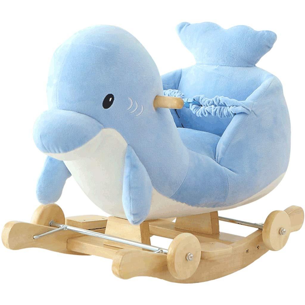Cavallo a dondolo Baby Dolphin Trojan Toy Gift Passeggini per Bambini a Dondolo per Bambini Cute Music Shake Horse Carrello per Neonati a rotelle Gioco Interattivo Cavalcabile